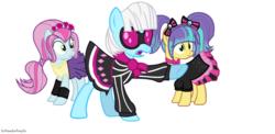Size: 1024x501 | Tagged: safe, artist:xxparadoxponyxx, photo finish, pixel pizazz, violet blurr, equestria girls, equestria girls ponified, ponified, the snapshots