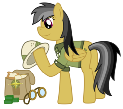 Size: 1492x1320 | Tagged: anatomical horror, anatomically incorrect, artist:sketchmcreations, bread, daring do, daring do adventure collection, daring do and the forbidden city of clouds, food, goggles, gum, incorrect leg anatomy, inkscape, saddle bag, safe, simple background, transparent background, vector
