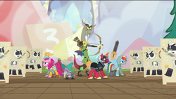 Size: 1275x720 | Tagged: safe, screencap, big macintosh, discord, pinkie pie, rainbow dash, spike, draconequus, dragon, earth pony, pegasus, pony, skeleton pony, unicorn, dungeons and discords, archery, armor, arrow, bard, bard pie, beard, boots, bow (weapon), bow and arrow, bracer, captain wuzz, clothes, facial hair, fantasy class, garbuncle, hat, helmet, levitation, magic, male, quiver, race swap, rainbow rogue, ranger, rogue, sir mcbiggen, skeleton, staff, stallion, sword, telekinesis, unicorn big mac, warrior, weapon, wizard, wizard hat