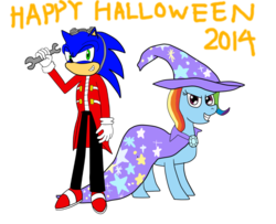 Size: 1024x830 | Tagged: safe, artist:infinityr319, rainbow dash, pony, clothes, cosplay, costume, crossover, doctor eggman, halloween, happy halloween, implied trixie, simple background, sonic the hedgehog, sonic the hedgehog (series), transparent background