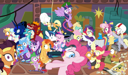 "Size: 1465x860 | Tagged: safe, artist:dm29, apple bloom, applejack, boulder (pet), cheerilee, coco pommel, daring do, derpy hooves, fluttershy, garble, gourmand ramsay, maud pie, pinkie pie, princess cadance, princess ember, princess flurry heart, princess luna, quibble pants, rainbow dash, rarity, saffron masala, shining armor, snowfall frost, spike, spirit of hearth's warming yet to come, starlight glimmer, sunburst, tender taps, trixie, twilight sparkle, zephyr breeze, alicorn, dragon, pony, zombie, 28 pranks later, a hearth's warming tail, applejack's ""day"" off, flutter brutter, gauntlet of fire, newbie dash, no second prances, on your marks, spice up your life, stranger than fan fiction, the cart before the ponies, the crystalling, the gift of the maud pie, the saddle row review, angel rarity, backwards cutie mark, bathrobe, beach chair, bloodstone scepter, body pillow, broom, cheerileeder, cheerleader, clothes, cold, cookie zombie, couch, cracked armor, crossing the memes, cutie mark, dancing, devil rarity, dragon lord spike, emble, female, filly, first half of season 6, garble's hugs, gordon ramsay, handkerchief, hat, hearth's warming, hiatus, jewelry, male, mane six, meme, menu, now you're thinking with portals, plushie, portal, present, rainbow trash, safety goggles, scroll, shipping, sick, speed racer, straight, sweeping, sweepsweepsweep, tenderbloom, the cmc's cutie marks, the meme continues, the story so far of season 6, this isn't even my final form, tiara, tissue, toolbelt, top hat, towel, trash can, twilight sparkle (alicorn), twilight sweeple, wall of tags, wonderbolts uniform"