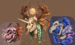 Size: 3600x2190 | Tagged: safe, artist:audrarius, edit, princess celestia, princess luna, twilight sparkle, alicorn, deer, dragon, pony, wolf, antlers, braid, bust, collar, crescent moon, cropped, ear piercing, fangs, feather, female, fur, helmet, horn, horns, jewelry, moon, piercing, portrait, sharp teeth, simple background, skull, skull helmet, teeth, tribal