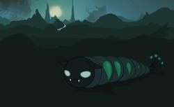 Size: 1280x781 | Tagged: safe, artist:sevenpaperplates, changeling, changeling larva, :3, larva, solo