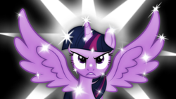 Size: 1280x720   Tagged: safe, twilight sparkle, alicorn, pony, angry, pun, solo, sparkles, sparkling, spread wings, twilight sparkle (alicorn), visual pun