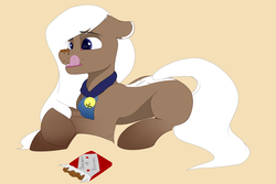 Size: 5400x3600 | Tagged: safe, artist:cold blight, derpibooru exclusive, oc, oc only, oc:cocoa almond, earth pony, pony, candy, chocolate, cute, eating, female, food, licking, licking lips, solo, tongue out