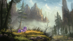 Size: 1920x1080 | Tagged: dead source, safe, artist:shamanguli, twilight sparkle, pony, unicorn, atg 2016, female, forest, mountain, newbie artist training grounds, scenery, scenery porn, sleeping, solo, unicorn twilight