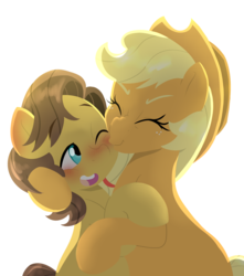 Size: 3000x3400 | Tagged: safe, artist:marukouhai, applejack, caramel, earth pony, pony, bipedal, blushing, carabetes, carajack, cute, eyes closed, female, hug, jackabetes, kiss on the cheek, kissing, kissy face, male, mare, nose wrinkle, one eye closed, rearing, shipping, simple background, sitting, size difference, smiling, stallion, straight, white background, wink