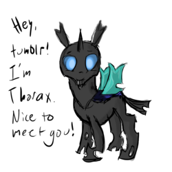Size: 1280x1280 | Tagged: safe, artist:hyper dash, thorax, changeling, ask thorax, the times they are a changeling, ask, simple background, solo, that was fast, tumblr, white background