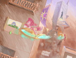 Size: 1100x843 | Tagged: safe, artist:qweeli, pinkie pie, earth pony, pony, balcony, cyberpunk, female, flag, flying, flying car, frown, futuristic, grin, gritted teeth, mare, scenery, skyscraper, smiling, vehicle, wide eyes, window