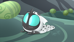 Size: 1800x1021 | Tagged: safe, artist:siggie740, thorax, changeling, changeling larva, the times they are a changeling, cute, cuteling, egg, grub, larva, male, smiling, solo, thorabetes