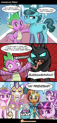 Size: 755x1631 | Tagged: alicorn, artist:lumineko, blergh, changeling, comic, crystal hoof, disguise, disguised changeling, friendship, in a nutshell, pony, princess cadance, princess flurry heart, safe, seems legit, shining armor, spike, starlight glimmer, sunburst, the times they are a changeling, thorax, twilight sparkle, twilight sparkle (alicorn), yay