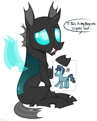 Size: 1945x2416 | Tagged: artist:higgly-chan, changeling, crystal hoof, cute, cuteling, dialogue, disguise, disguised changeling, drawing, fangs, holding, hoof hold, male, oc, oc only, open mouth, paper, ponysona, safe, simple background, smiling, solo, speech bubble, the times they are a changeling, thorabetes, thorax, white background