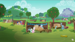 Size: 1366x768 | Tagged: safe, screencap, crackle pop, derpy hooves, diamond tiara, randolph, snips, snips' dad, train tracks (character), pegasus, pony, unicorn, the cart before the ponies, colt, discovery family logo, female, male, mare