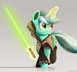Size: 2000x1883 | Tagged: artist:ncmares, clothes, commission, crossover, jedi, lightsaber, lyra heartstrings, magic, raised hoof, safe, signature, solo, star wars, weapon