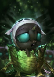 Size: 1020x1440 | Tagged: safe, artist:assasinmonkey, thorax, changeling, changeling larva, the times they are a changeling, changeling egg, cute, cuteling, fangs, frown, hive, horn, larva, male, open mouth, thorabetes