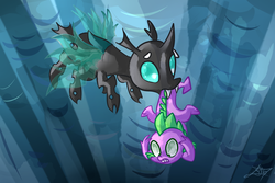 Size: 1500x1000 | Tagged: artist:tamoqu, changeling, safe, scene interpretation, spike, the times they are a changeling, thorax