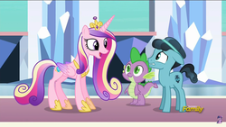 Size: 1280x720 | Tagged: changeling, crystal hoof, discovery family logo, disguise, disguised changeling, lip bite, princess cadance, safe, screencap, spike, the times they are a changeling, thorax