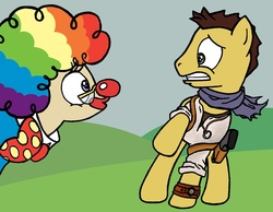 Size: 1280x995 | Tagged: artist needed, safe, mayor mare, clown, clown nose, glasses, nathan drake, ponified, red nose, scared, uncharted