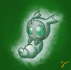 Size: 1070x1052 | Tagged: safe, artist:zutcha, thorax, changeling, changeling larva, the times they are a changeling, baby, baby changeling, cute, cuteling, grub, larva, male, solo, thorabetes