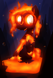 Size: 5040x7440   Tagged: safe, artist:ampderg, oc, oc only, oc:molten core, original species, absurd resolution, female, happy, lava, lava pony, solo, underwater