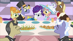 Size: 1920x1080   Tagged: safe, screencap, chocolate sun, earl grey, ponet, primrose, pristine, rarity, swan dive, swan song, pony, unicorn, sweet and elite, clothes, female, food, hat, hors d'oeuvre, male, mare, rarity looking at food, stallion, table, top hat, waiter