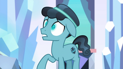 Size: 1920x1080 | Tagged: changeling, crystal hoof, disguise, disguised changeling, floppy ears, frown, glowing eyes, gritted teeth, raised hoof, safe, screencap, slit eyes, solo, the times they are a changeling, thorax, wide eyes
