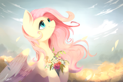 Size: 4950x3300 | Tagged: safe, artist:haidiannotes, fluttershy, pegasus, pony, absurd resolution, beautiful, bouquet, cloud, cloudy, colored pupils, cute, featured image, female, flower, hoof hold, lidded eyes, looking up, mare, petals, pretty, shyabetes, signature, sky, smiling, solo, spread wings, windswept mane