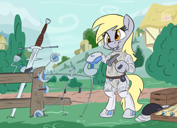 Size: 1280x926   Tagged: safe, artist:discorded, artist:pirill, derpy hooves, pony, bipedal, clothes, fencing, newbie artist training grounds, ponyville, pun, solo, sword, weapon, zweihander