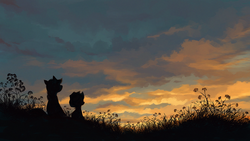 Size: 1280x720 | Tagged: dead source, safe, artist:maggwai, apple bloom, applejack, pony, cloud, grass, scenery, silhouette, sunset, twilight (astronomy)