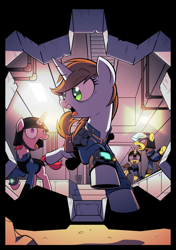 Size: 1760x2500 | Tagged: safe, artist:php104, oc, oc only, oc:littlepip, earth pony, pony, unicorn, fallout equestria, canteen, fallout, fanfic, fanfic art, female, horn, i can't believe it's not idw, jumping, mare, open mouth, pipbuck, raised hoof, saddle bag, stable, stable 2, stable door, vault suit