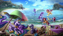 Size: 5861x3297   Tagged: safe, artist:zilvart, apple bloom, button mash, cloudchaser, diamond tiara, princess celestia, scootaloo, silver spoon, sweetie belle, alicorn, earth pony, pegasus, pony, unicorn, absurd resolution, beach, beach ball, blanket, bow, bucket, colt, cutie mark crusaders, female, filly, food, glasses, hair bow, iphone, looking at each other, male, mare, missing accessory, momlestia, ocean, open mouth, party, playing, sand, scenery, shovel, smiling, summer, surfboard, surfing, the cmc's cutie marks, umbrella