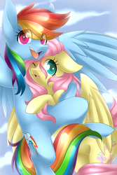 Size: 3000x4500   Tagged: safe, artist:scarlet-spectrum, fluttershy, rainbow dash, pegasus, pony, absurd resolution, arm around neck, cloud, colored pupils, cute, dashabetes, eye clipping through hair, female, floppy ears, flutterdash, flying, hug, lesbian, mare, one eye closed, open mouth, selfie, shipping, shyabetes, sky, smiling, spread wings, wings