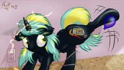 Size: 1638x921 | Tagged: safe, artist:frist44, oc, oc only, oc:electro current, pony, unicorn, :t, adorable distress, back fluff, balloon, butt fluff, chest fluff, clothes hanger, colored pupils, cute, digital multimeter, ear fluff, electricity, female, floppy ears, fluffy, frown, hoof fluff, kicking, leg fluff, looking back, magnet, mare, messy mane, nut, ocbetes, raised leg, scrunchy face, shoulder fluff, spoon, static, static electricity, stuck, us plug, wide eyes, worried