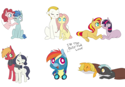 Size: 2000x1400 | Tagged: safe, artist:chiweee, applejack, big macintosh, bulk biceps, fluttershy, party favor, pinkie pie, rainbow dash, rarity, sunset shimmer, thunderlane, twilight sparkle, pony, clothes, cuddling, cute, female, flutterbulk, hnnng, lesbian, looking at you, lying down, male, mane six, mare, missing cutie mark, partypie, pinkie being pinkie, rarimac, shipping, simple background, sitting, sleeping, snuggling, standing, straight, sunsetsparkle, text, thunderjack, transparent background, wonderbolts uniform