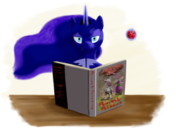 Size: 3200x2400 | Tagged: safe, artist:lemon-bitter-twist, princess luna, cute little fangs, d20, dungeon master, fangs, looking at you, magic, newbie artist training grounds, smiling, smirk, solo, telekinesis, this will end in tears