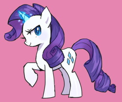 Size: 635x528 | Tagged: safe, artist:kanyoko, rarity, female, glowing horn, looking at you, raised hoof, simple background, solo