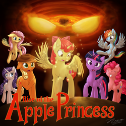 Size: 1024x1024 | Tagged: safe, artist:novaintellus, apple bloom, applejack, fluttershy, pinkie pie, rainbow dash, rarity, twilight sparkle, alicorn, pony, fanfic:rise of the apple princess, alicornified, bloomicorn, cover art, cutie mark, fanfic, fanfic art, female, filly, mane six, race swap, request, the cmc's cutie marks, this will end in tears and/or death and/or covered in tree sap, twilight sparkle (alicorn)