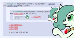 Size: 575x300   Tagged: safe, artist:ficficponyfic, edit, edited edit, oc, oc only, oc:emerald jewel, earth pony, pony, colt quest, /mlp/, 4chan, 4chan screencap, amulet, child, color, colt, comments, cute, foal, hair over one eye, hug, hugception, male, solo, text