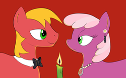 Size: 1680x1050 | Tagged: artist:clacksphob, big macintosh, bowtie, candle, candlelight, cheerilee, cheerimac, derpibooru exclusive, ear piercing, earring, earth pony, jewelry, male, necklace, piercing, pony, safe, shipping, stallion, straight