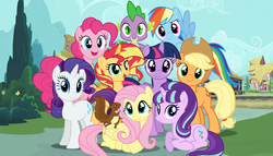 Size: 1413x807 | Tagged: dead source, safe, artist:dilemmas4u, applejack, fluttershy, pinkie pie, rainbow dash, rarity, spike, starlight glimmer, sunset shimmer, twilight sparkle, alicorn, pony, squirrel, alicornified, alternate mane seven, cute, happy, looking at you, magical quartet, magical quintet, magical trio, mane eight, mane nine, mane seven, mane six, ponyville, race swap, s5 starlight, shimmercorn, show accurate, smiling, twilight sparkle (alicorn)