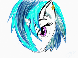 Size: 2048x1536 | Tagged: safe, artist:ciaran, derpibooru exclusive, dj pon-3, vinyl scratch, 30 minute art challenge, bust, ear piercing, earring, jewelry, looking at you, piercing, portrait, simple background, sketch