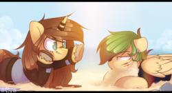 Size: 1024x553 | Tagged: safe, artist:starlyflygallery, oc, oc only, pegasus, pony, unicorn, beach, sand