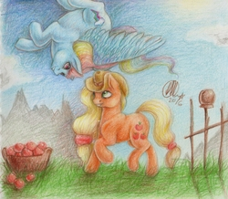 Size: 1582x1382 | Tagged: safe, artist:kimsteinandother, applejack, rainbow dash, pony, apple, appledash, female, food, lesbian, mare, shipping, traditional art