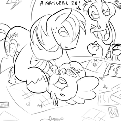 Size: 800x800 | Tagged: safe, artist:creepycurse, big macintosh, discord, spike, earth pony, pony, dungeons and discords, and then spike was gay, gay, male, shipping, spikentosh, stallion, that was fast