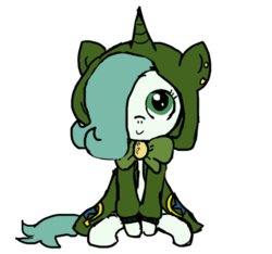 Size: 640x600 | Tagged: safe, artist:ficficponyfic, color edit, edit, oc, oc only, oc:emerald jewel, earth pony, pony, colt quest, bowtie, child, clothes, color, colored, colt, cute, cute face, cutie mark, ear piercing, femboy, foal, hair over one eye, hnnng, hoodie, horn, male, piercing, smiling, solo, trap, weapons-grade cute