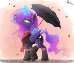 Size: 2380x2030 | Tagged: safe, artist:bugplayer, princess luna, alicorn, pony, autumn, clothes, commission, cute, female, leaf, leaves, magic, mare, puddle, rain, scarf, signature, smiling, solo, umbrella