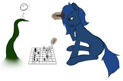 Size: 1280x850   Tagged: safe, artist:anonpony1, artist:jedi, artist:jedi515, color edit, edit, oc, oc only, oc:starlight blossom, pony, unicorn, chess, chessboard, colored, magic, playing, simple background, sitting, tentacles, thinking
