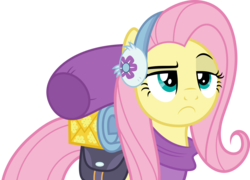 Size: 5000x3608 | Tagged: safe, artist:dashiesparkle, fluttershy, dungeons and discords, .svg available, absurd resolution, bags, clothes, earmuffs, female, fluttershy is not amused, ponyscape, raised eyebrow, scarf, simple background, solo, transparent background, unamused, vector, winter outfit