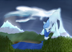 Size: 2000x1428 | Tagged: artist:otpl, earth, earth pony, forest, giant pony, goddess, macro, mountain, pony, safe, solo, titan
