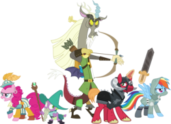Size: 4132x3000 | Tagged: absurd res, arrow, artist:uponia, bard, bard pie, big macintosh, bow and arrow, bow (weapon), captain wuzz, discord, dungeons and discords, dungeons and dragons, earth pony, fantasy class, garbuncle, magic, male, ogres and oubliettes, parsnip, pinkie pie, pony, race swap, rainbow dash, rainbow rogue, rogue, roleplaying, safe, simple background, sir mcbiggen, staff, stallion, .svg available, sword, transparent background, trine, unicorn, unicorn big mac, vector, weapon